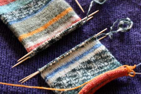Tubularly-knit sock in progress