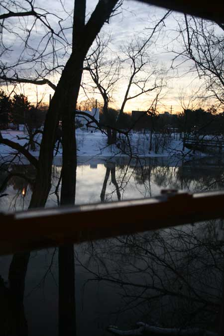 Sunrise over the Grand River in Lansing's Old Town neighborhood